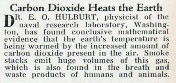 CO2 warming announced in 1932