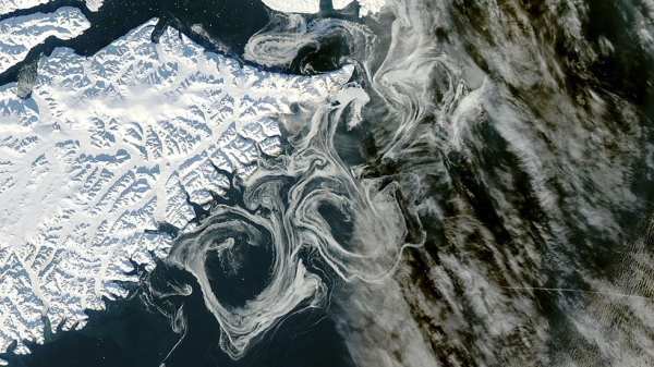 sea and land ice in Greenland