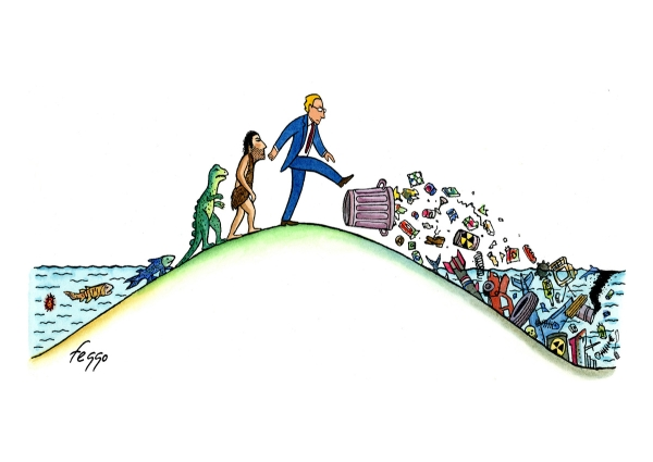 satirical cartoon on evolution of mankind